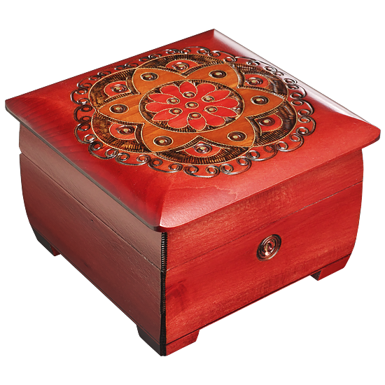 Ornamental Chakra Chest - Red & Orange - Polish Wooden Box