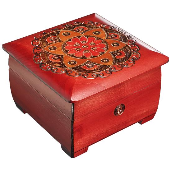Ornamental Chakra Chest - Red & Orange - Polish Wooden Box