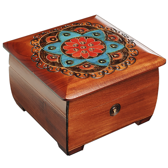 Ornamental Chakra Chest - Brown, Red, and Blue - Polish Wooden Box