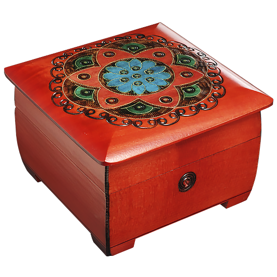 Ornamental Chakra Chest - Red & Blue - Polish Wooden Box