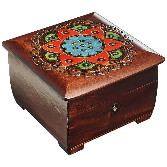 Ornamental Chakra Chest - Dark Brown - Polish Wooden Box