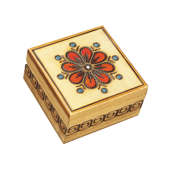 Polish Small Red Flower - Polish Wooden Box