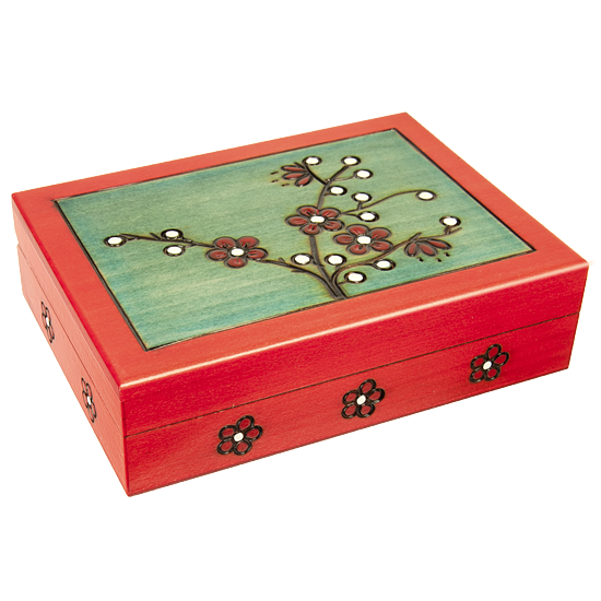 Blooming Plum - Large - Polish Wooden Box