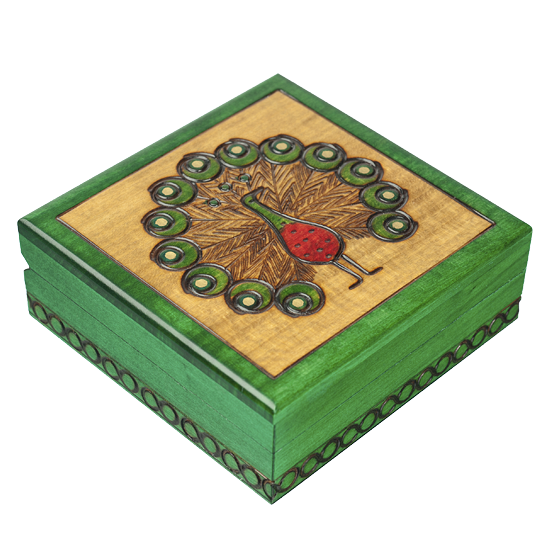 Peacock - Polish Wooden Box