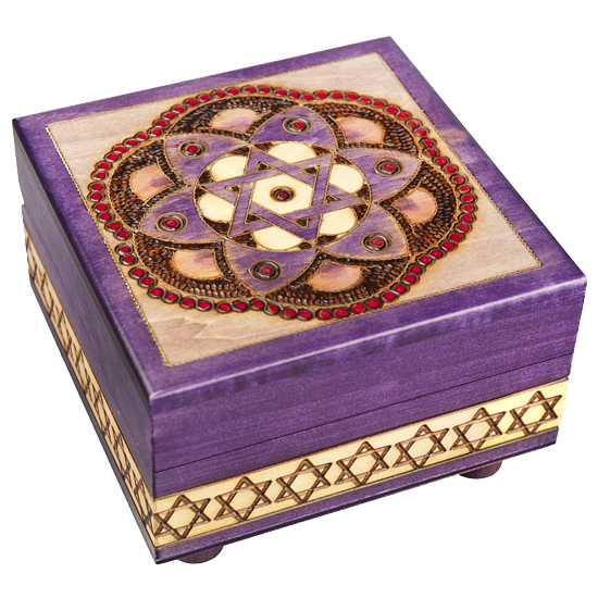 Star of David & Flower - Polish Wooden Box