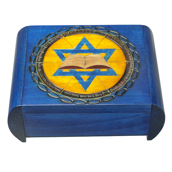Star of David with Book - Polish Wooden Box