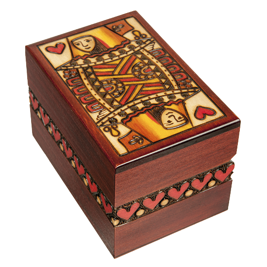 Queen of Hearts - Polish Wooden Box