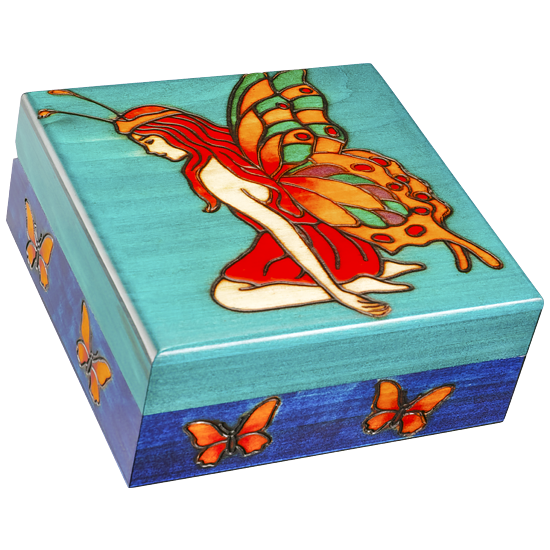 Fairy of the Butterflies - Polish Wooden Box