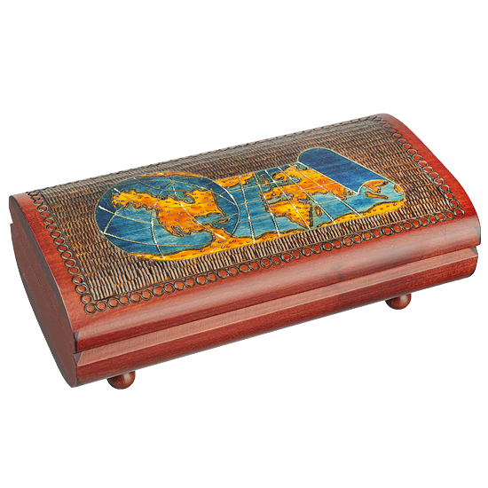 World Map Scroll Cigar Box - Polish Wooden Box