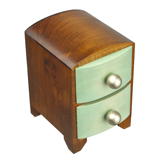 1950's Style 2 Drawer - Polish Wooden Box