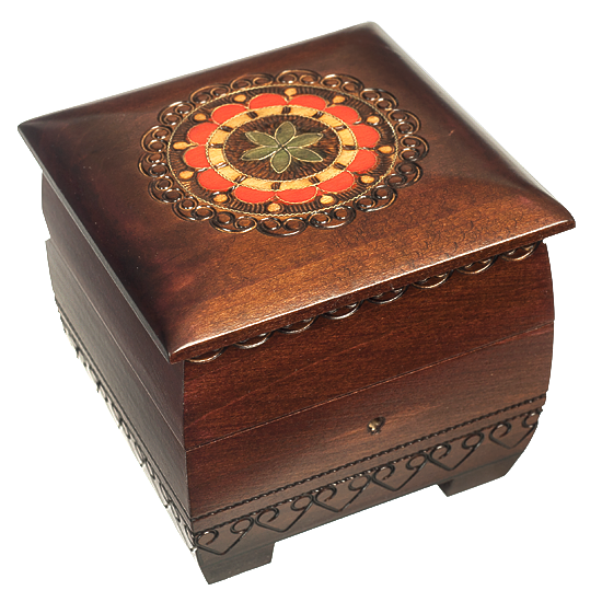 Rounded Floral - Lock & Key - Polish Wooden Box
