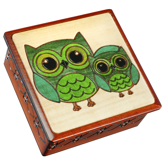 Green Owls, Getting Ready for Bed - Polish Wooden Box