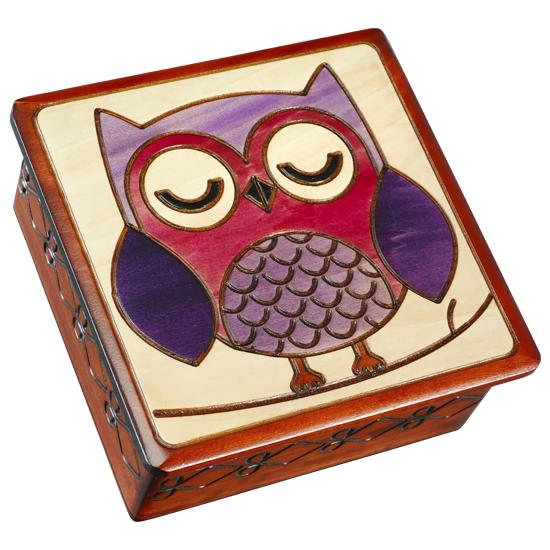 Sleepy Owl on a Branch - Polish Wooden Box