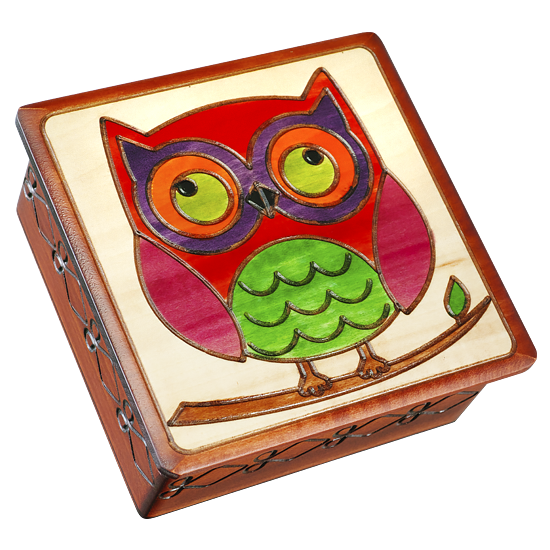 Colorful Owl on a Branch with Leaf - Polish Wooden Box