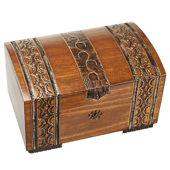 Brass Clad Chest - Polish Wooden Box