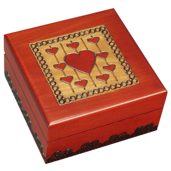 Threaded Hearts - Polish Wooden Box