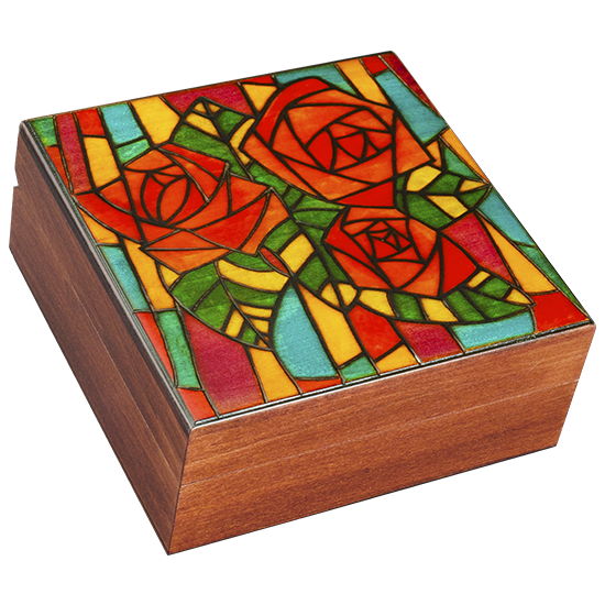 "Stained Rose ""Glass"" Mosaic - Polish Wooden Box"