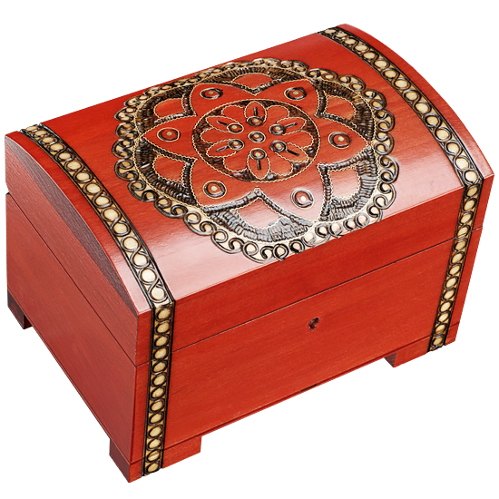 Floral Chakra Large with Lock - Polish Wooden Box