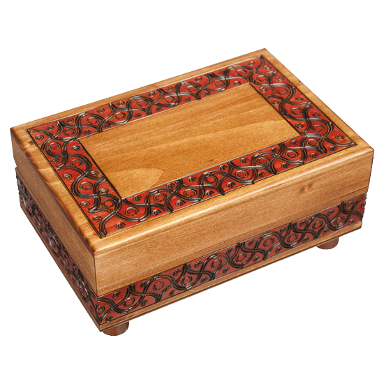 Waved Motif - Polish Wooden Box