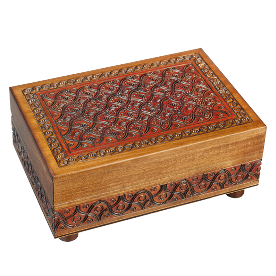 Waved Motif Full - Polish Wooden Box