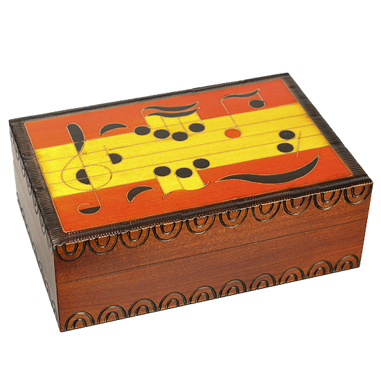 Large Musical Notes - Polish Wooden Box