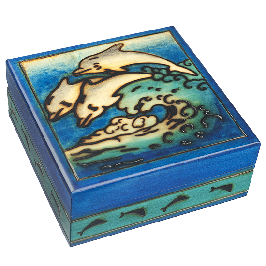 Joyful Dolphins - Polish Wooden Box