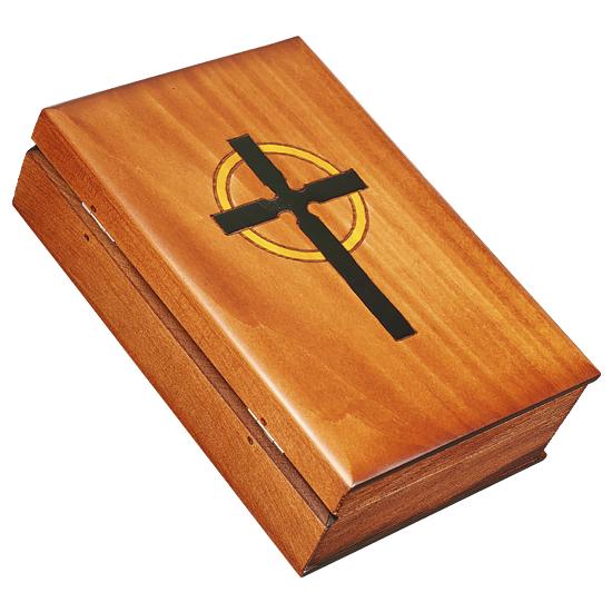 Book Shaped Bible & Cross Box - Polish Wooden Box