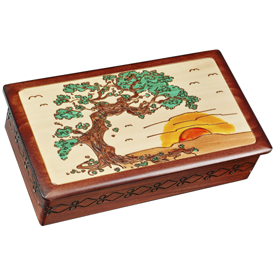 Sunset Japanese Pine Tree - Polish Wooden Box