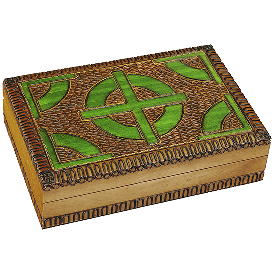 Green Celtic Cross - Polish Wooden Box