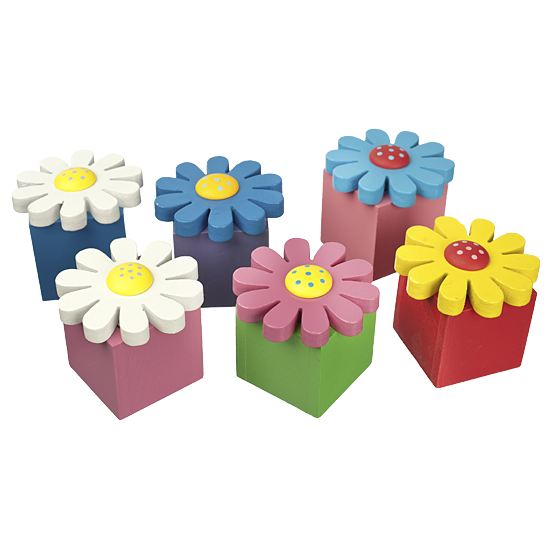 Flowers - Set of 6 - Polish Wooden Box