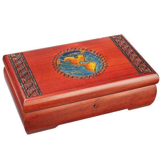 World Map with Key - Polish Wooden Box