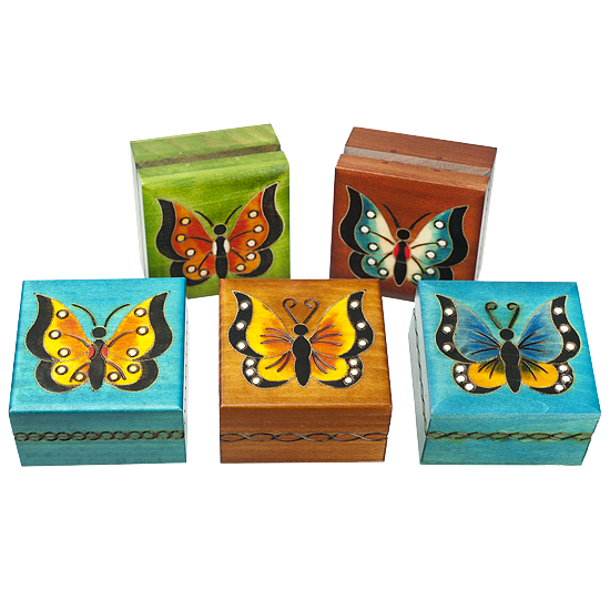 Butterflies, Assorted - Polish Wooden Box