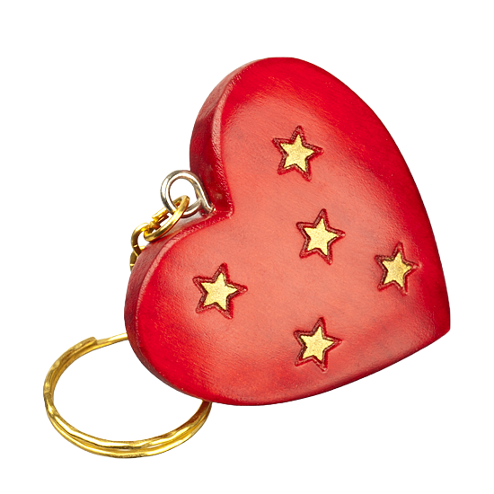 Heart & Stars Keychain - Polish Wooden Box