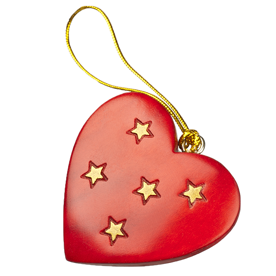 Heart & Stars Ornament - Polish Wooden Box