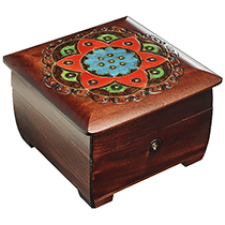 Ornamental Chakra Chest - Dark Brown