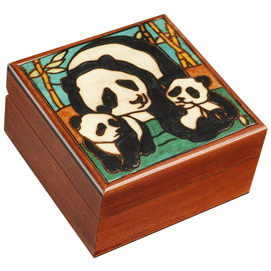 Panda Family - Polish Wooden Box