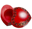 Red heart shaped box detail showing sliding top