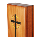 Alternate view of our new book-shaped wooden box, showcasing the carved wooden pages.