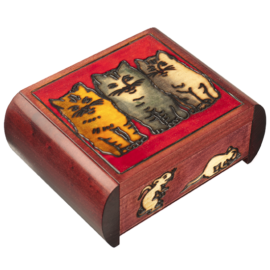 Three Cats - Polish Wooden Box